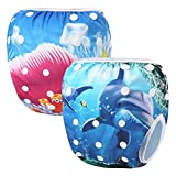 Storeofbaby 2pcs Swim Diapers Swimwear Baby Leakproof Reusable Infant 0 3 Years (Pack of 2)