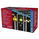 Konstsmide 2398-500 LED Biergartenlichterketten System Basis-Set: Transformator u. Lichterkette erweiterbar bis max. 4 Ketten / für Außen (IP44) /  24V Außentrafo / 10 bunte Birnen / 80 warm weiße Dioden / schwarzes Kabel