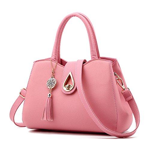 Alidier Neue Marke und Qualität Mode Damen Shopper Ledertaschen Handtaschen Umhängetasche Schultertasche Tote Bag Pink