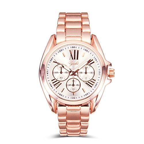 Fashion Luxusuhren Damenuhren Armbanduhr Analog Quarz Uhren Uhr Damen Gold Armband Weiss Zifferblatt (83196-W)