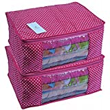Homestrap Cotton Quilted Large Saree Cover - Pink (Set of 2)