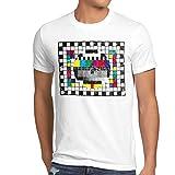 style3 Televisione Monoscopio T-shirt da uomo sheldon televisivo, T-SHIRT Hauptfarbe ALT:bianco;T-SHIRT Größe ALT:M