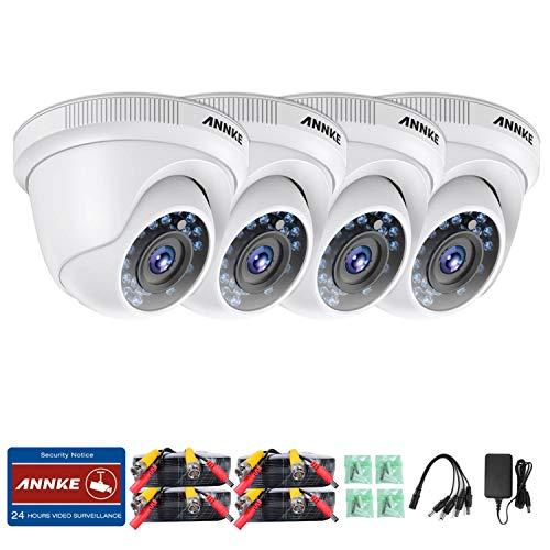 ANNKE Kit de 4 Cámaras de vigilancia 1080P Luz Estelar No-Ruido IP66 Impermeable con Visión Nocturna