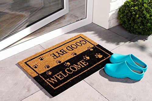 PANA® Kokos-Türmatte Fußmatte Tür-Matte Türvorleger Schuhabstreifer I ca. 40 cm x 60 cm I mit rutschfester Unterseite aus PVC Gummi I perfekt geeignet für den Innenbereich u. Außenbereich (Unterseite Rutschfeste)