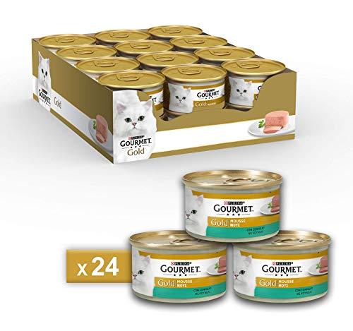 Gourmet Gold Purina Umido Gatto Mousse con Coniglio, 24 Lattine da 85 g Ciascuna, Confezione da 24 x 85 g