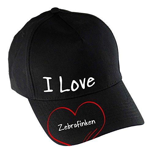 multifanshop Baseballcap Modern I Love Zebrafinken schwarz 100% Baumwolle - Cap Kappe Mütze Baseballkappe Schirmmütze Basecap Käppi