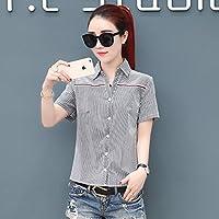 SLR Camisa de Manga Corta a Rayas Delgadas Camisa de Mujer del Verano de Las Camisas Salvajes Camisa de Mujer,Lineas Blancas,L