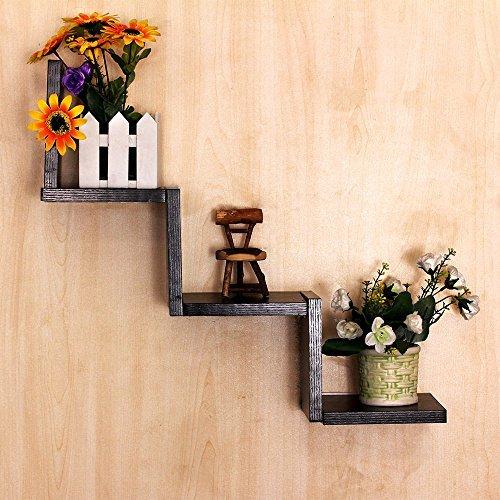 Zerone mensola di galleggiamento di legno, parete a forma di w montato scaffale unità cd dvd scaffali per la decorazione domestica (nero)