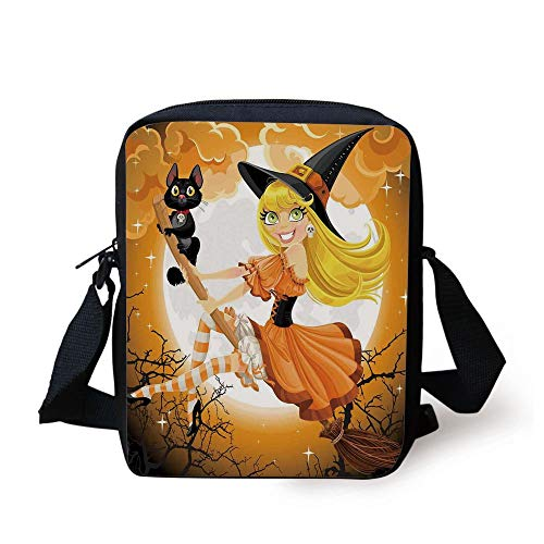 Halloween Decorations,Cute Sexy Witch on a Broom with Baby Kitten and Hazy Moonlight Print,Multi Print Kids Crossbody Messenger Bag Purse