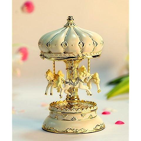 GG Resina arte cavallo a dondolo di music box bianco argento castello giostra carillon