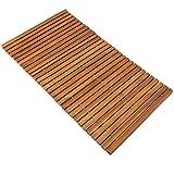 Badvorleger Badematte Badvorleger Holz | 80 x 50 cm | FSC®-zertifiziertes Akazienholz | rutschhemmende Gummistopper | aufrollbar