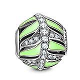 NINAQUEEN Hojas Verdes artificiales Abalorio de mujer de plata Charms beads compatible con pulsera de pandora joyería regalos para cumpleaños Aniversario Boda novia esposa madre hija damas niñas su
