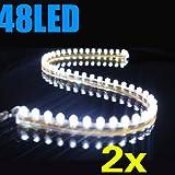 SODIAL (R) 2X blanc 48cm 48 SMD LED voiture bande sous une lumiere neon Footwell Flexible etanche