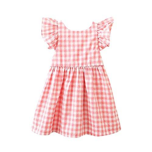 squarex Kinder Infant Kinder Mädchen Kurzarm Kleine Fliegende Hülse Plaid Gedruckt Bogen Zurück Halfter Kleid Prinzessin ()