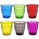 Duralex Picardie Farbige Wasserbecher Gläser - 250ml - Bunt - Set aus 6