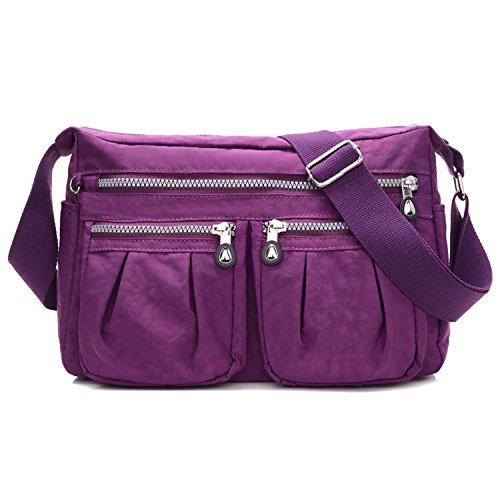 sportliche Handtasche / Schultertasche / Umhängetasche aus Nylon, Umhängetasche Bodybag (Lila) (Handtasche Nylon Sportliche)