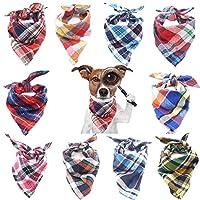 Winterworm 10 Pcs Plaid Dog Bandana, Puppy Cat Dog Grid Triangle Neck Scarf Kerchief Neckerchief Collar Dog Accessories