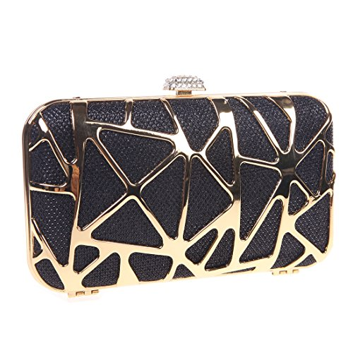 Bonjanvye Special Water Cube Box Evening Clutches Purses for Girls Champagne Black
