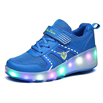 Unisex Sneaker mit Rollen Skateboard Kinder LED Leuchtet Sohle Leuchtend Sport Schuhe Jungen Mädchen (UE 38, D/Blau/Dan)