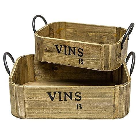 Holzkisten, 2cagettes Fächer Tabletts Körbe aus Holz mit Bügel aus Eisen Schwarz Rechteckig 2Größen