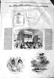 1843 OISEAUX ROYAUX DE JOCKEYS DE GABARIT DE CHAMP DE COURSES DE FOULARD DE PLAN