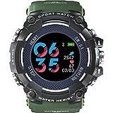 MEIEI MEIEI Sportuhr, leichte intelligente wasserdichte und stoßfeste Sport-Bergsteigen-elektronische Uhr Heben Handheller Schirm-Anruf-Informations-Anzeigen-Uhr an (Color : Army Green)