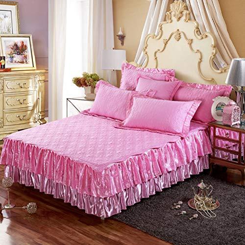 Baumwoll Bett Rock, Gekräuselt Bettüberwurf Falten Tagesdecke Wrap Ruffle Stil Bett Dekoration Gesteppt Abnehmbare Bett Rock Mit 19