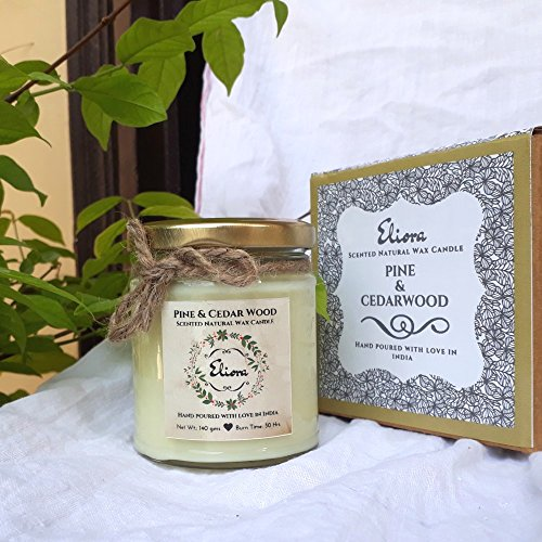 Pine Oil & Cedarwood Oil Essential Candle Made with Blended Natural Wax and Fragrant Essential Oils for a Healthy and Clean Burn/Cedarwood Candle