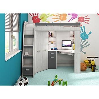 90x200 kinder etagenbett wei grau mit bettkasten treppe - Doppelstockbett mit treppe ...