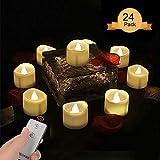 LED Teelicht Kerzen mit Fernbedienung, LED Kerzen Flammenlose Kerzen mit Fernbedienung Aottom elektrische flackernde batteriebetriebene kerzen 60 Stunden Weihnachtskerzen für Weihnachtsbaum,Weihnachtsdeko,Hochzeit,Geburtstags,Party Warme weiße(24 Stück)