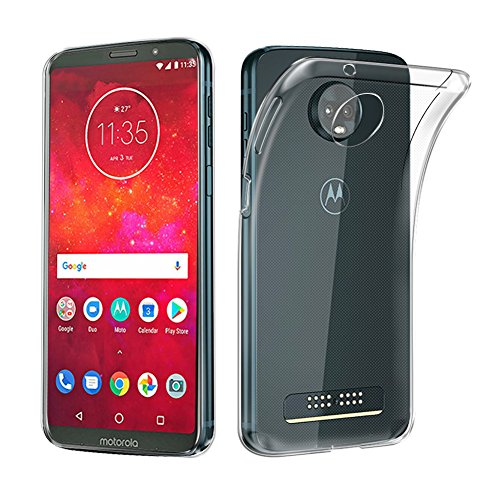 AVIDET Moto Z3 Play Hülle, Moto Z3 Cover, Ultra Dünn Durchsichtige Handyhülle Soft Flex Silikon TPU Case für Motorola Moto Z3 / Z3 Play - Transparent
