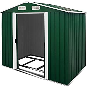 51WeTb1zp3L. SS300  - Deuba Garden Metal Tool Shed Size and Colour Choice Galvanised Green Anthracite Brown Roofed Outdoor Storage 8x6ft, Green