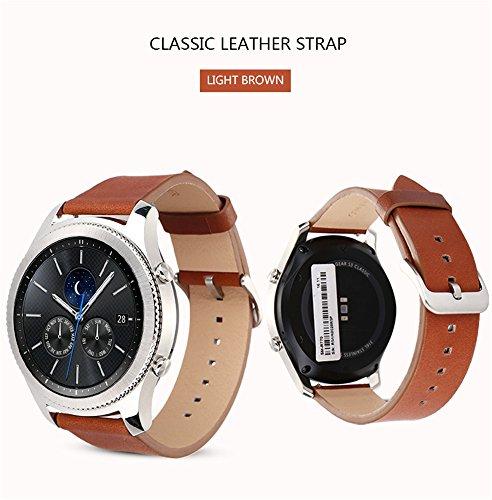 Gear S3 Frontier / Classic Watch cinturino,Sumin® Vera Pelle di lusso guardare cinturino Bracciale cinturino cinturino da polso di ricambio per Samsung Gear S3 Frontier / S3 Classic ( NOT FIT S2 & S2 Classic & Fit2)