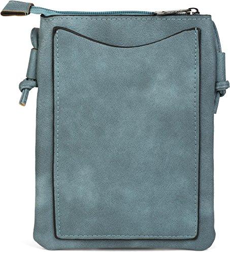 styleBREAKER Mini Bag Umhängetasche mit Zick-Zack Cutout und Nieten, Schultertasche, Handtasche, Tasche, Damen 02012211, Farbe:Camel Jeansblau