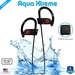 ZAAP (USA) AQUA XTREME Bluetooth Waterproof Headphones + Free Carry Case {Award-winning Tech} IP-X7 with 4.1 Bluetooth Technology Universal Compatibility Secure Fit for Sports, Gym, Running & Outdoor with Built-in Microphone [Black]