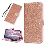 Niocase Compatible iPhone XS Max Coque Cuir Textile Brillante Bling Bling Book Type...