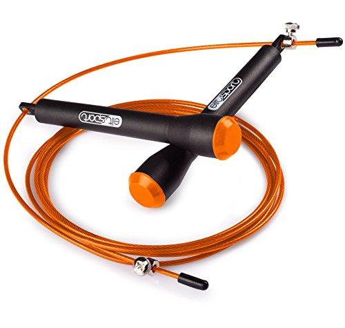 Comba de Velocidad ELIT SPORT - Corssfit Speed Rope - Rodamientos Metálicos de Alta Calidad. Cable de Acero de 2.5 mm de Alta Velocidad con Recubrimiento de PVC. Comba Profesional Hombre y Mujer