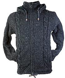 Guru-Shop Strickjacke Wolljacke Nepaljacke, Herren, Grau, Wolle, Size:XL, Jacken, Strickjacken, Ponchos Alternative Bekleidung