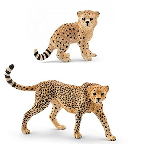 Schleich Wild Life Animals Cheetah 14746 and Cheetah Cub 14747 Figures Set
