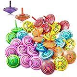Czemo 30 Stück Kreisel aus Holz, Gyro Holz, Spielzeugkreisel aus Holz mit Farbenfroher Bemalung und Verschiedenen Holzkreisel