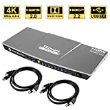 TESmart 4x1 Interruttore KVM HDMI 4K 3840x2160@60Hz 4:4:4 con 2 Cavi KVM 5ft/1.5m Supporta dispositivi USB 2.0 Dispositivi USB 2.0 Controlla Fino a 4 Computer/Servers/DVR (Grigio)