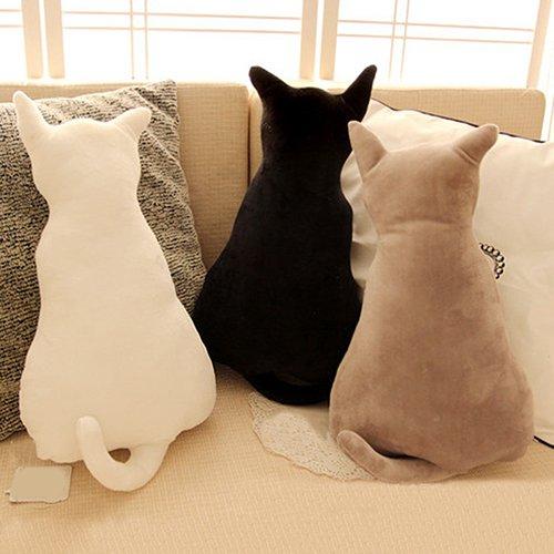 Homeofying Sofakissen in Form einer Katze, niedliche Tier-Silhouette, weicher Plüsch, schönes Geschenk für Zimmer von Mädchen und Jungen, Plüsch, grau, 45 cm -