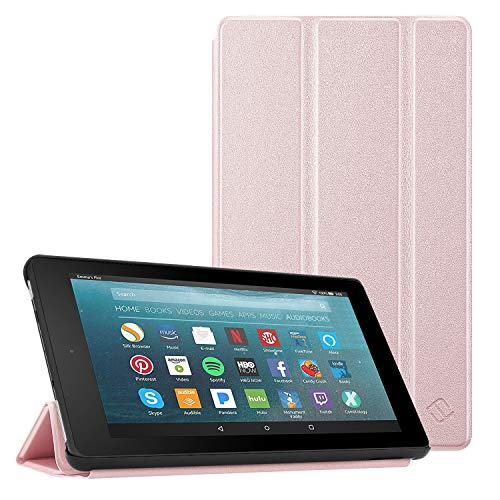 Fintie Hülle kompatibel für Fire 7 Tablet (9.Generation - 2019) - Super Slim Lightweight Schutzhülle Tasche mit Standfunktion und Auto Schlaf/Wach Funktion, Roségold -