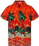 V.H.O Funky Chemise Hawaienne, Perroquet, orange, 3XL