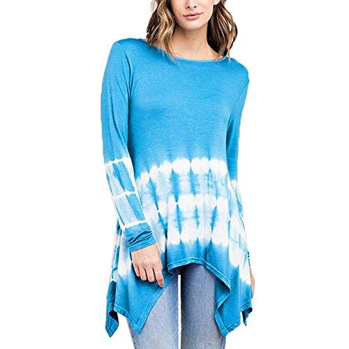 Damen Langarmshirt Asymmetrisch T-Shirt Stretch Longshirt MYMYG Farbverlauf Langarm Oberteile Herbst...