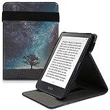 kwmobile Custodia Verticale per e-Reader per Kobo Clara HD - Cover con Fascia Mano e leggìo - Flip Case e-Book in Pelle PU