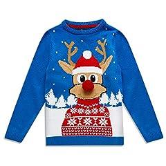 Idea Regalo - NOROZE - Maglione Natalizio per Bambini con Elfo, Pupazzo di Neve, Babbo Natale e Renna 3D Naso Rudolph Blu Reale 7-8 Anni
