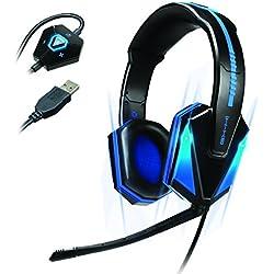 Cascos Gaming LED con Micrófono y Surround Sound Por ENHANCE / Auriculares Estéreo Headset para Gamers