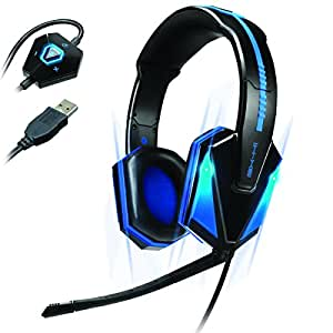 ENHANCE Casque Gaming Micro Casque de Jeux PC Over-Ear USB LED Bleu avec Son Surround 7.1 Virtuel , Micro Détachable , et Contrôle du Volume Intégré
