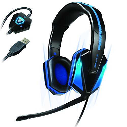 ENHANCE LED Gaming Kopfhörer/Headset mit Mikrofon für Computerspiele wie Landwirtschafts-Simulator 17 Die Sims 4 Minecraft Overwatch Origins Dawn of War Far Cry Primal Mass Effect und mehr